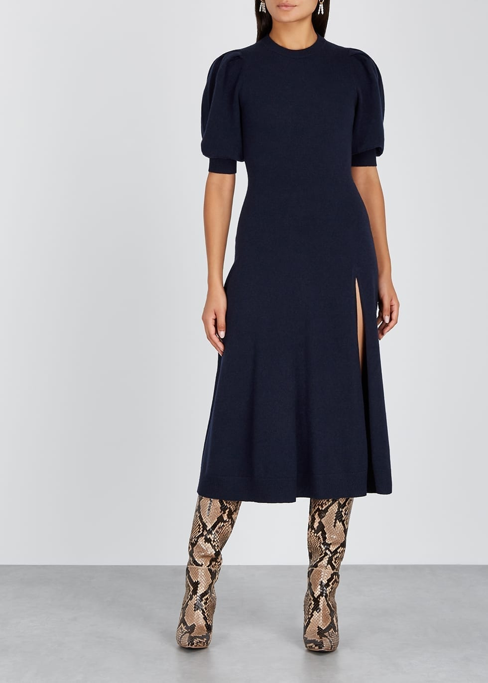 JONATHAN SIMKHAI Navy Cashmere Midi Dress