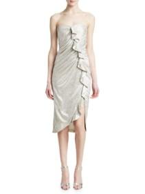 JONATHAN SIMKHAI Plisse Lamé Ruffled Bustier Dress