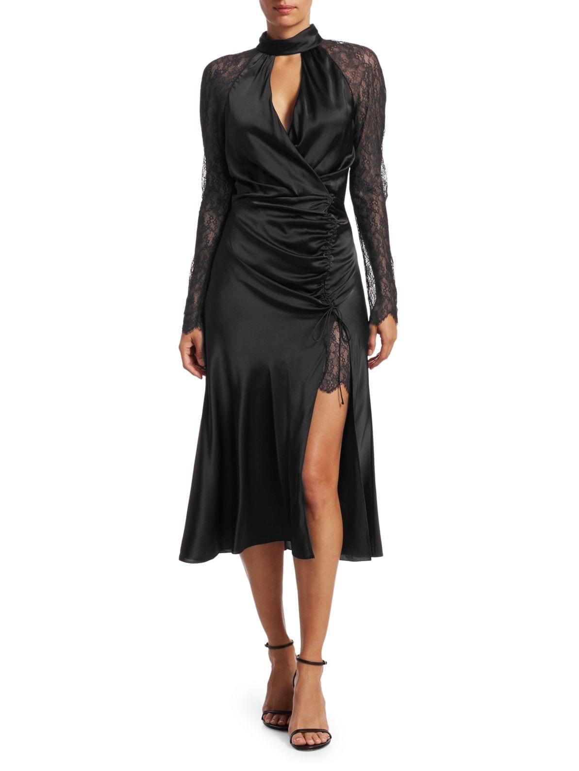 JONATHAN SIMKHAI Silk & Lace Keyhole Dress