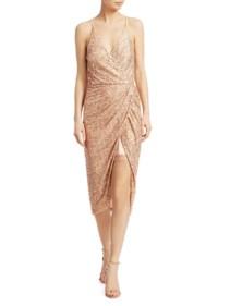 JONATHAN SIMKHAI Speckled Sequin Wrap Dress