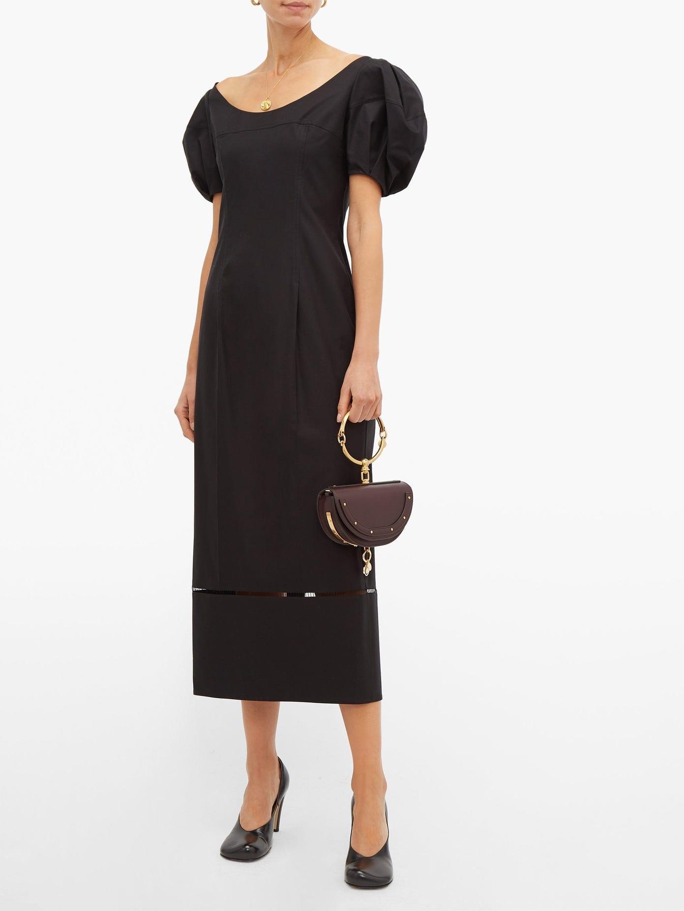 KHAITE Allison Puff-Sleeve Cotton Midi Dress