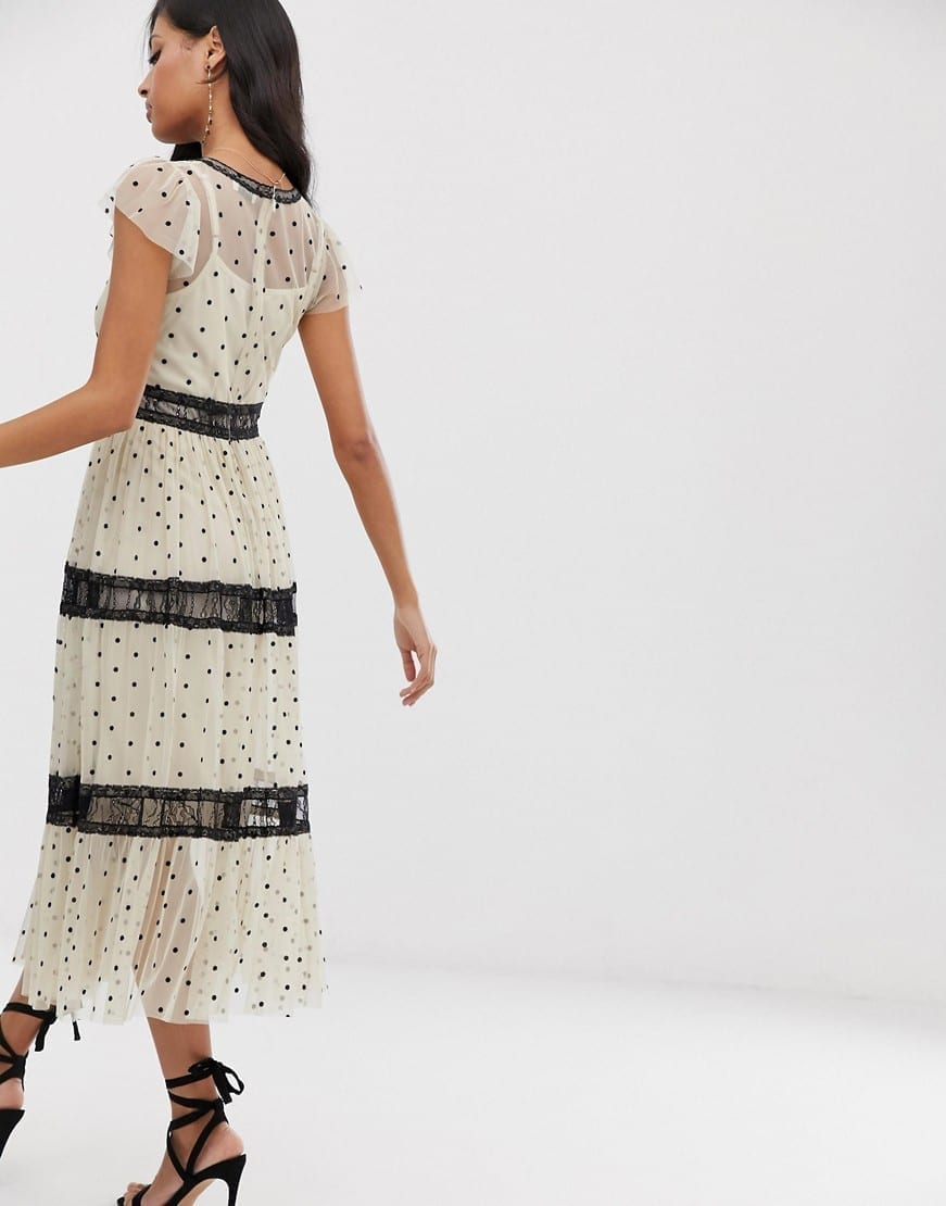 LACE & BEADS Spotty Mesh With Lace Inserts Midi Dress