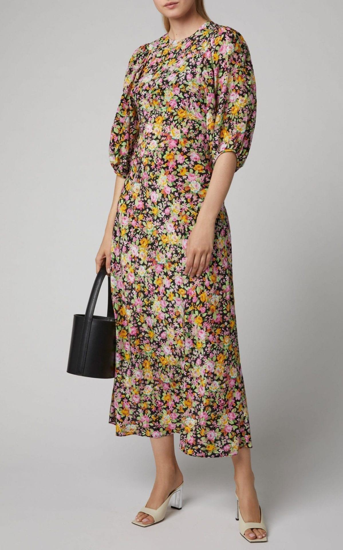 LES RÊVERIES Floral-Print Silk-Chiffon Midi Dress