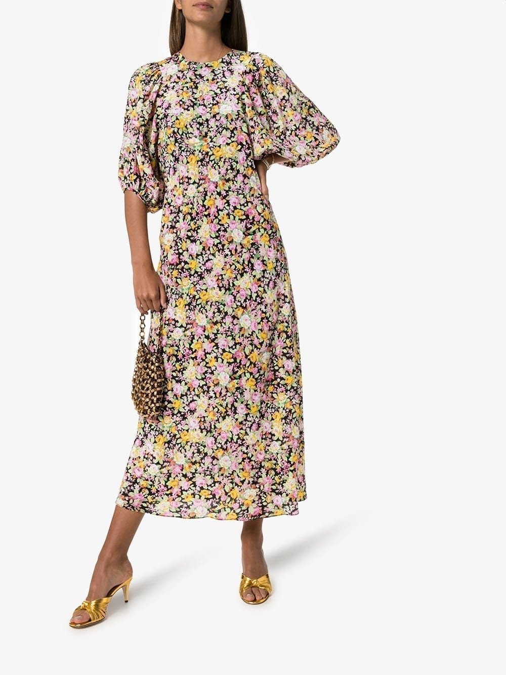 LES REVERIES Floral Silk Midi Dress