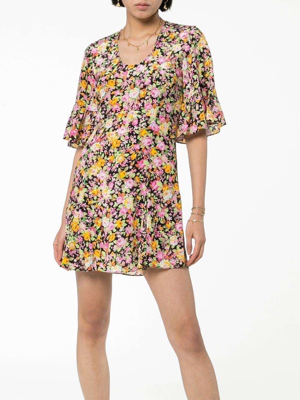 LES REVERIES Floral Silk Mini Dress