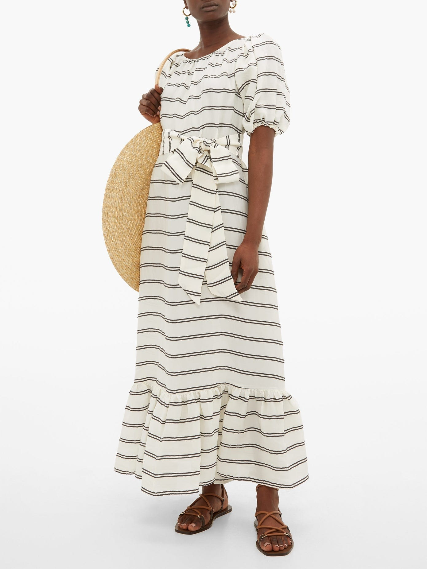 LISA MARIE FERNANDEZ Prairie Striped Maxi Dress