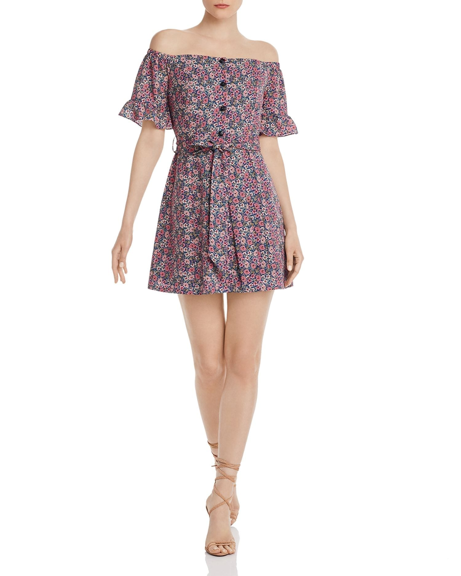 LOST AND WANDER Orchid Off-the-Shoulder Floral Mini Dress