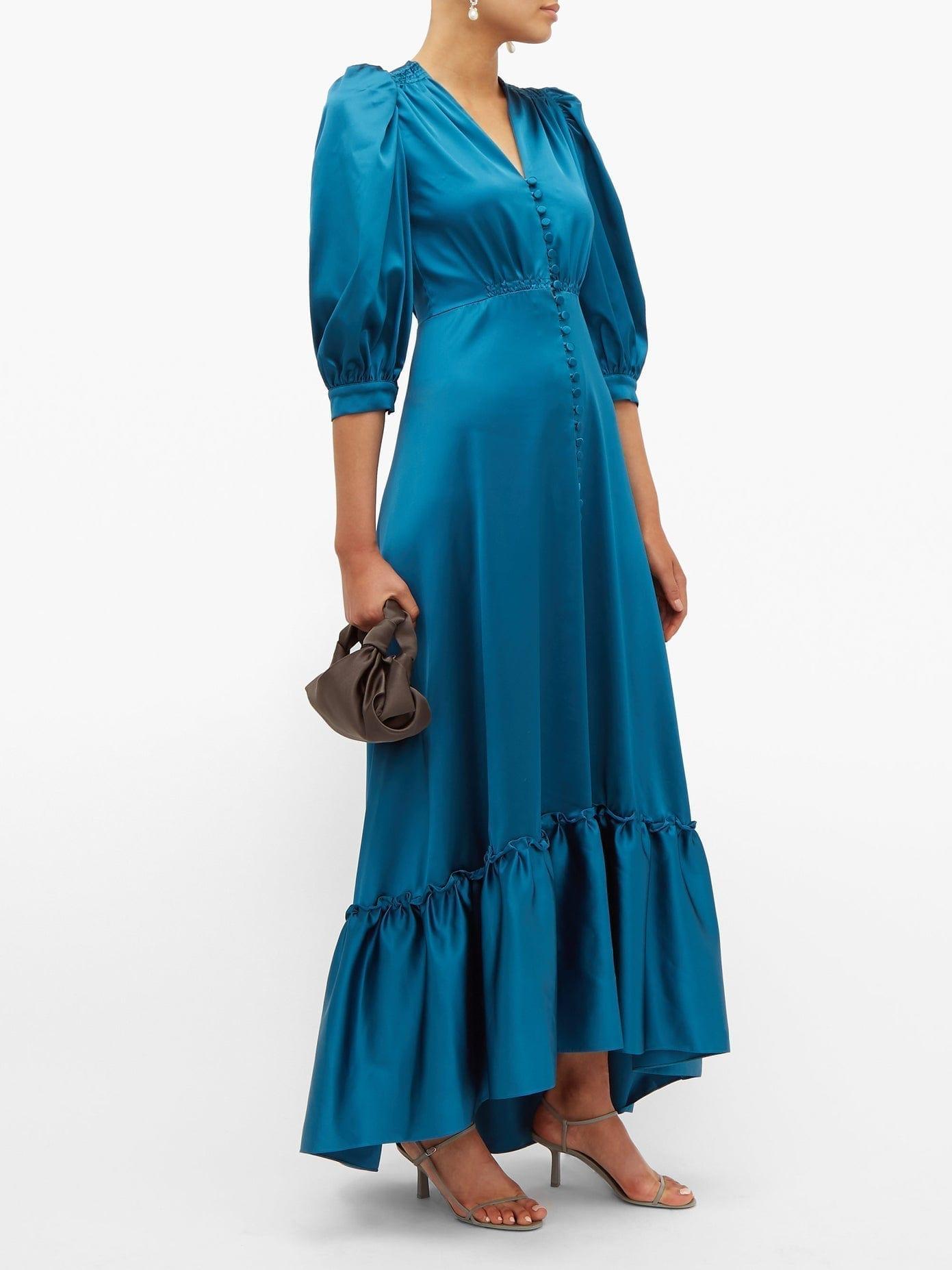 LUISA BECCARIA V-neck Puff-sleeved Gathered Satin Dress