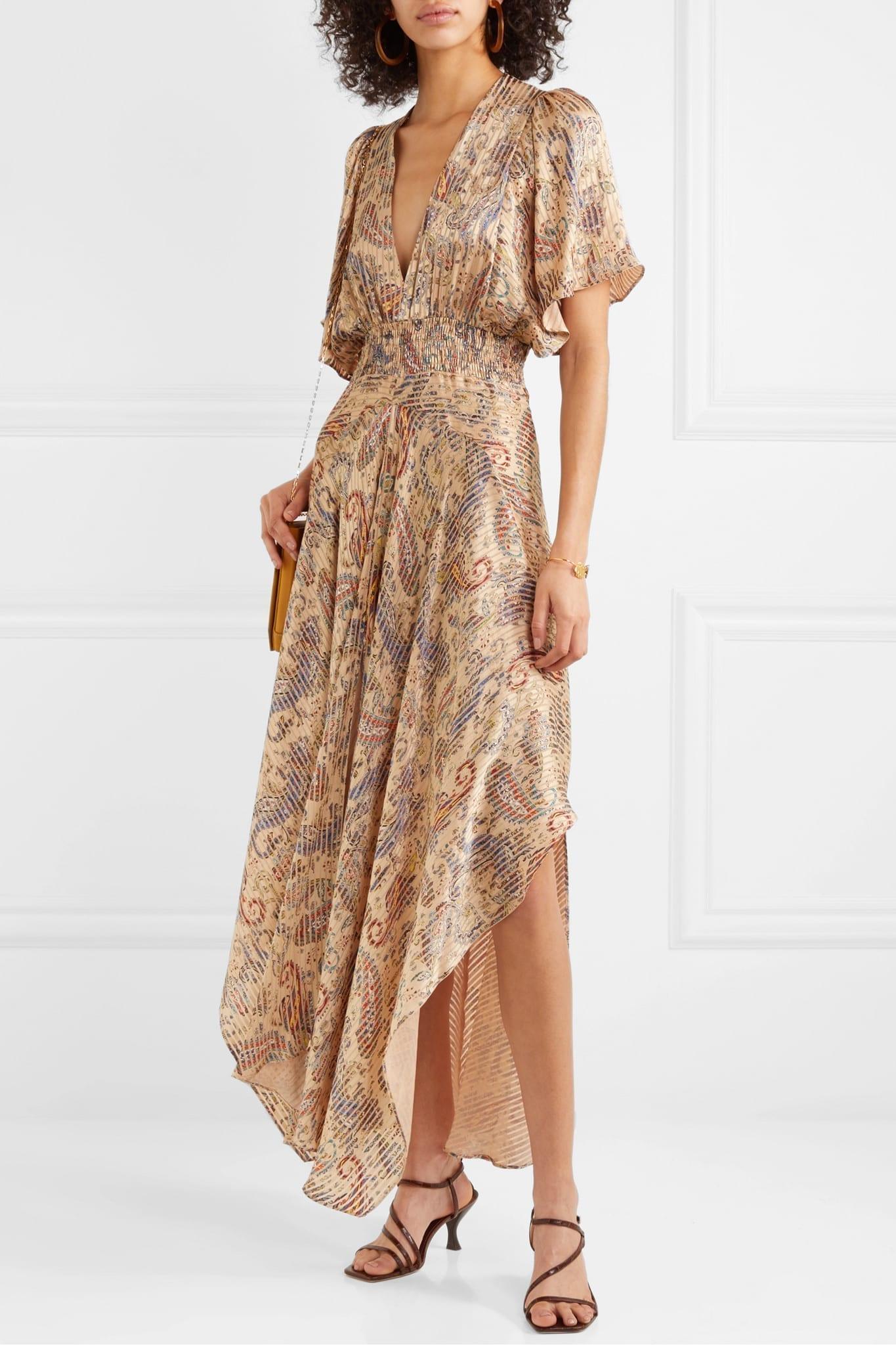 MAJE Rachel Asymmetric Printed Devoré-satin Dress