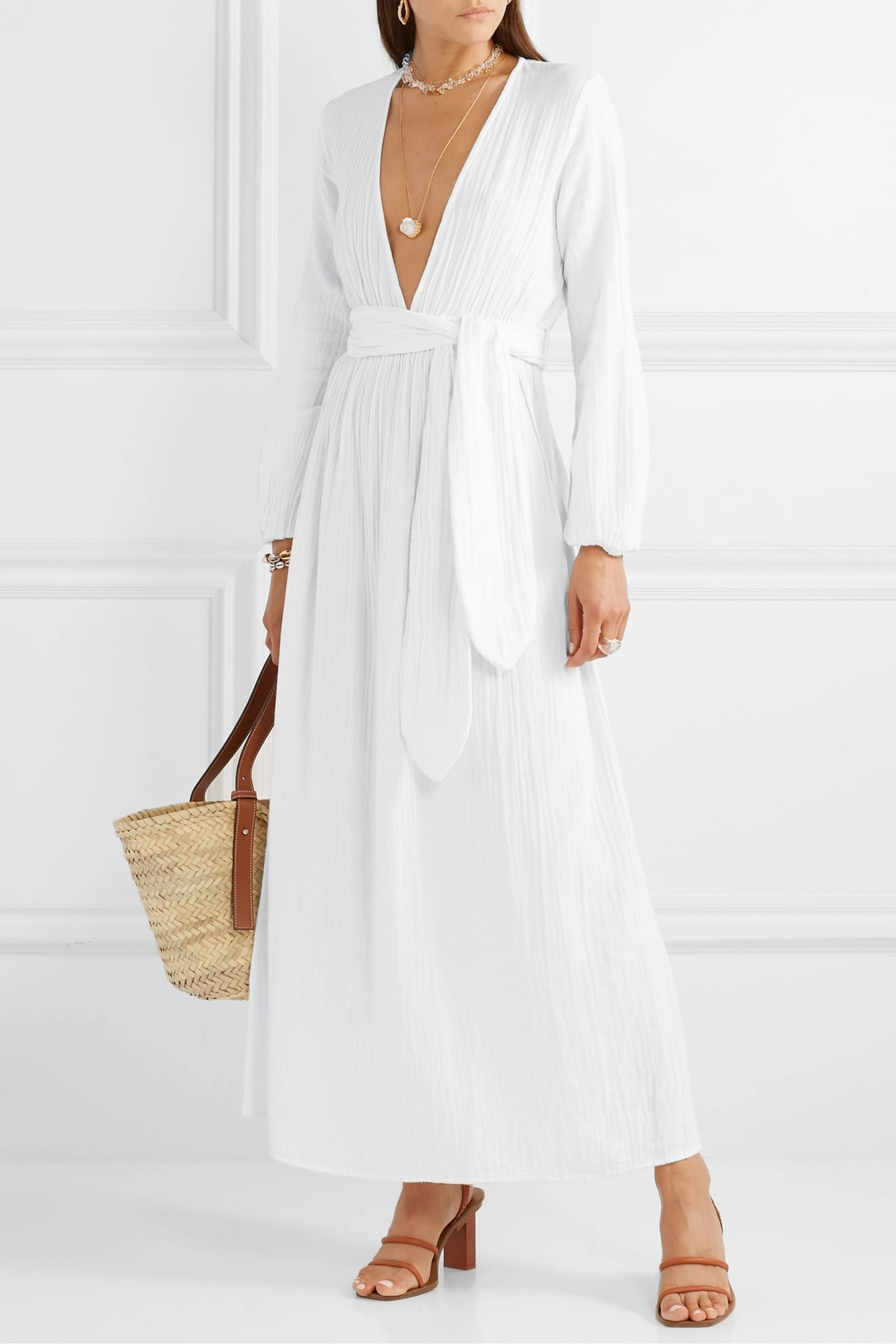 MARA HOFFMAN + NET SUSTAIN Luna Belted Crinkled Organic Cotton-gauze Maxi Dress