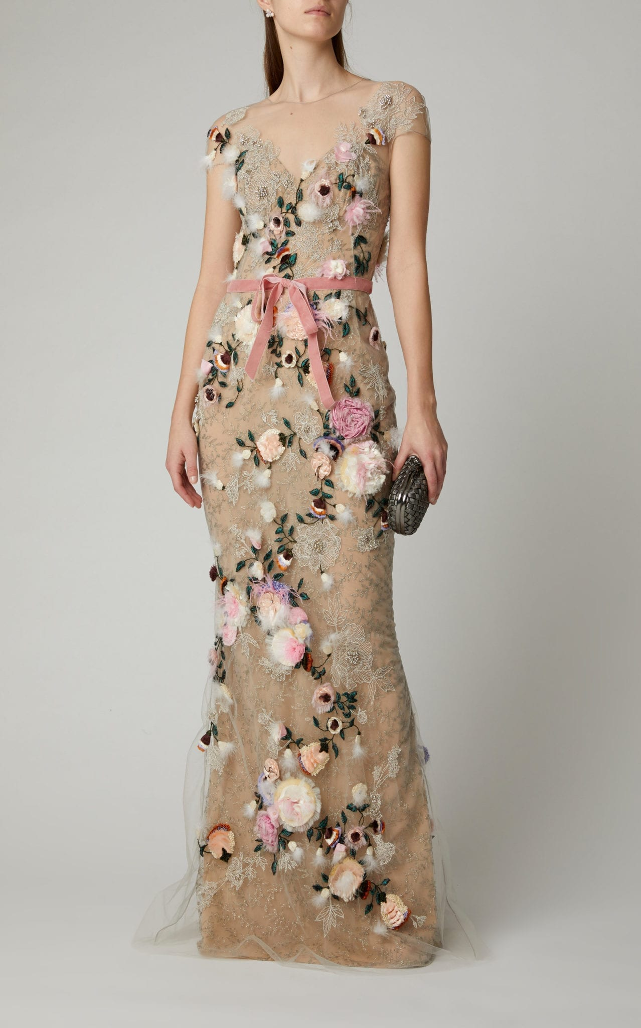 MARCHESA Feather-Trimmed Floral-Appliquéd Tulle Gown