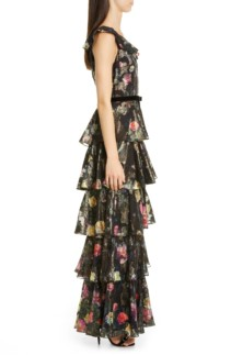 MARCHESA NOTTE Metallic Floral Ruffle Tiered Gown