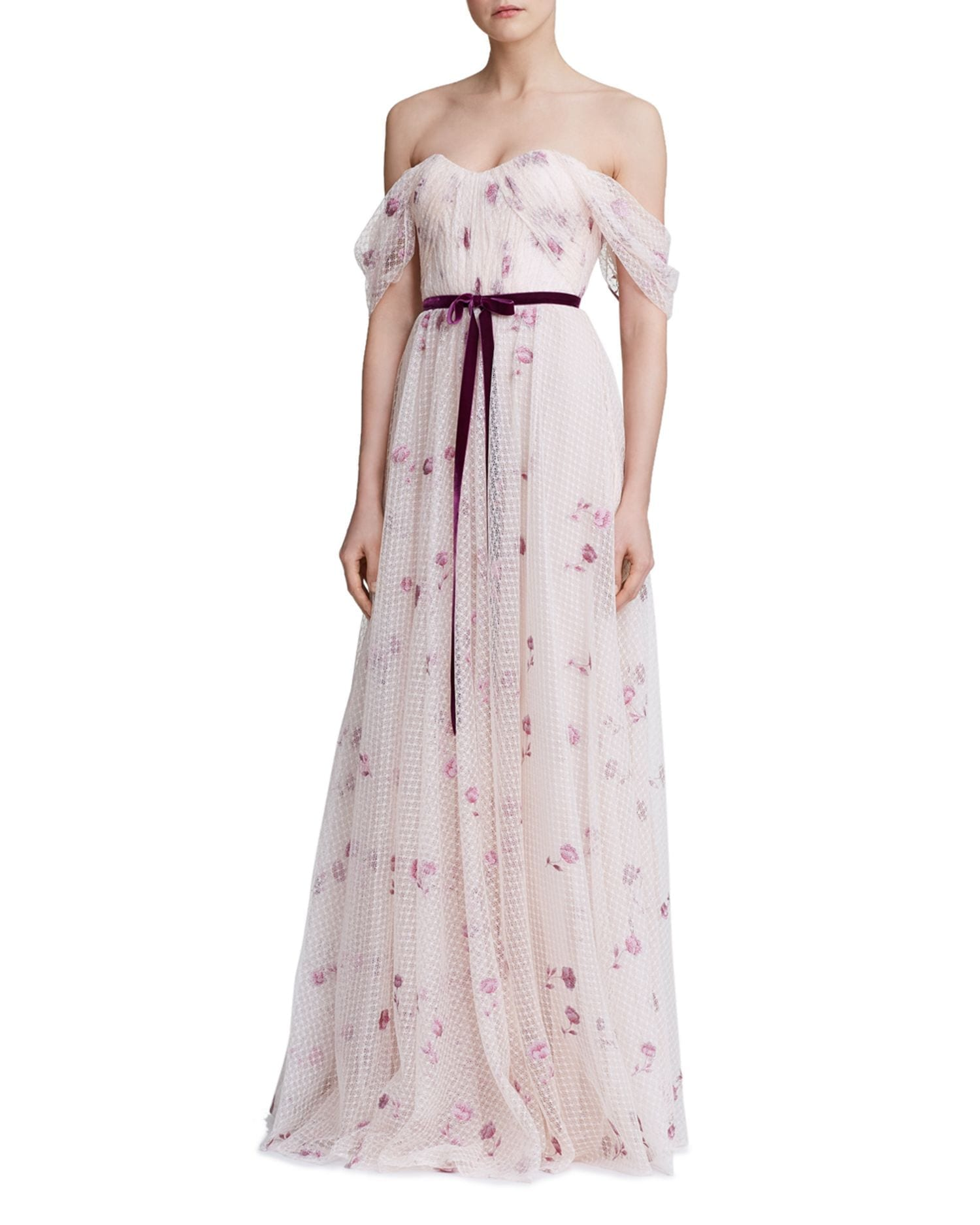 MARCHESA NOTTE Off-The-Shoulder Floral Tulle Gown