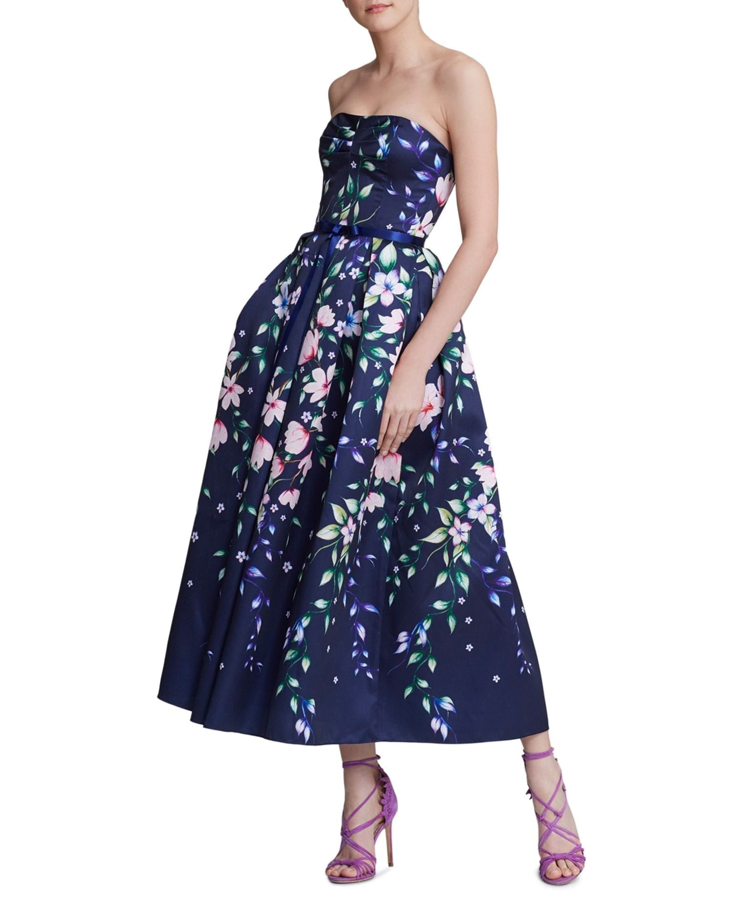 MARCHESA NOTTE Strapless Floral-Print Gown