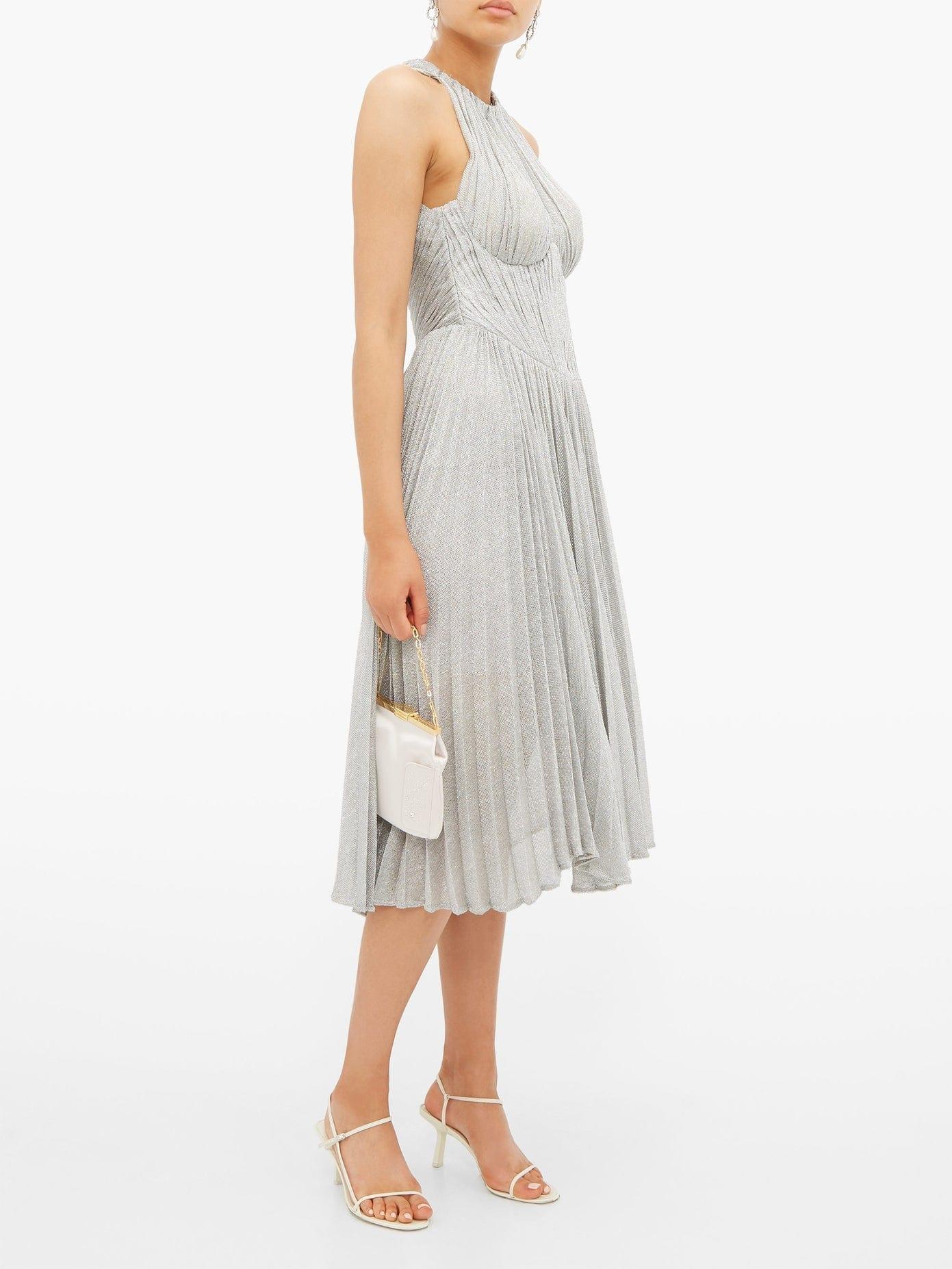MARIA LUCIA HOHAN Bria Halterneck Metallic Dress
