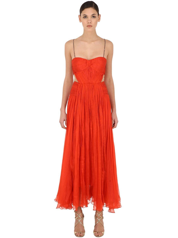 MARIA LUCIA HOHAN Cut Out Silk Embellishment Midi Dress