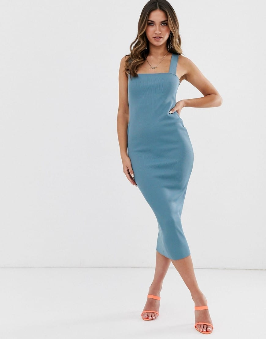 MISSGUIDED Square Neck Ribbed Midaxi Dress