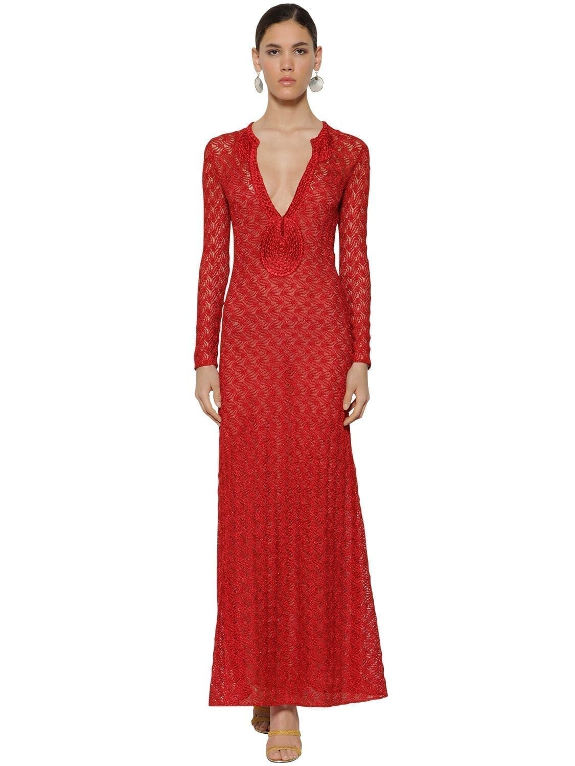 MISSONI Long V Neck Lace Knit Lamé Dress