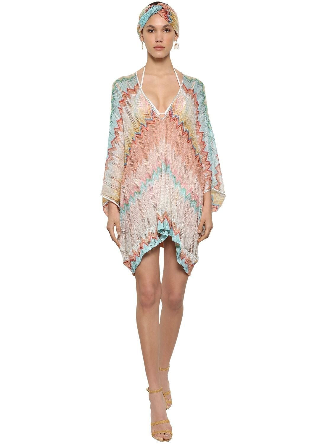 MISSONI Zigzag Print V Neck Knit Caftan Dress
