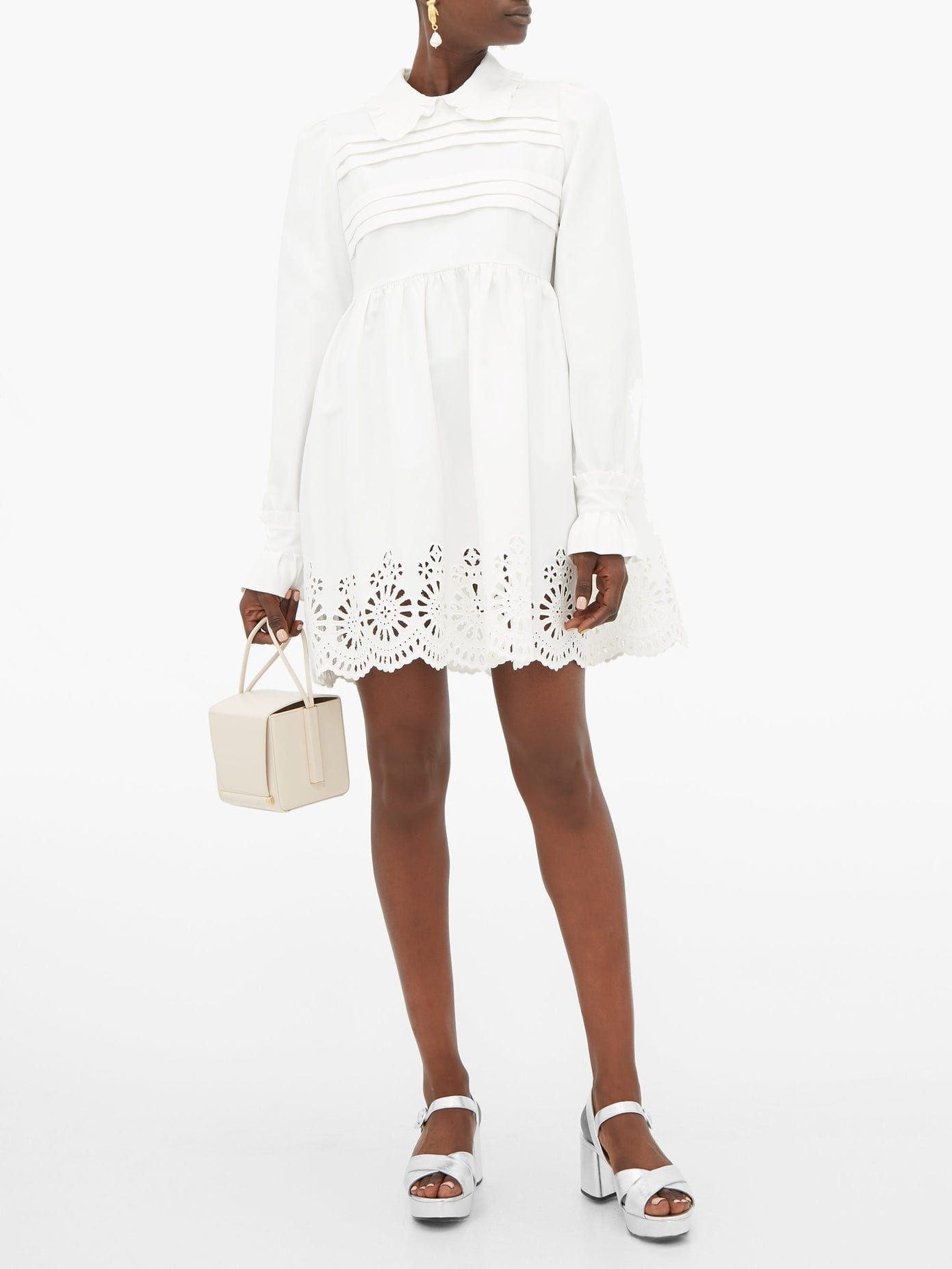 MIU MIU Broderie-Anglaise Cotton-Blend Mini Dress