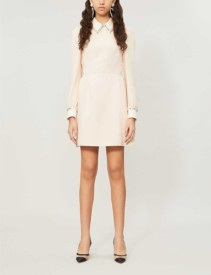 MIU MIU Crystal-embellished Crepe Mini Dress