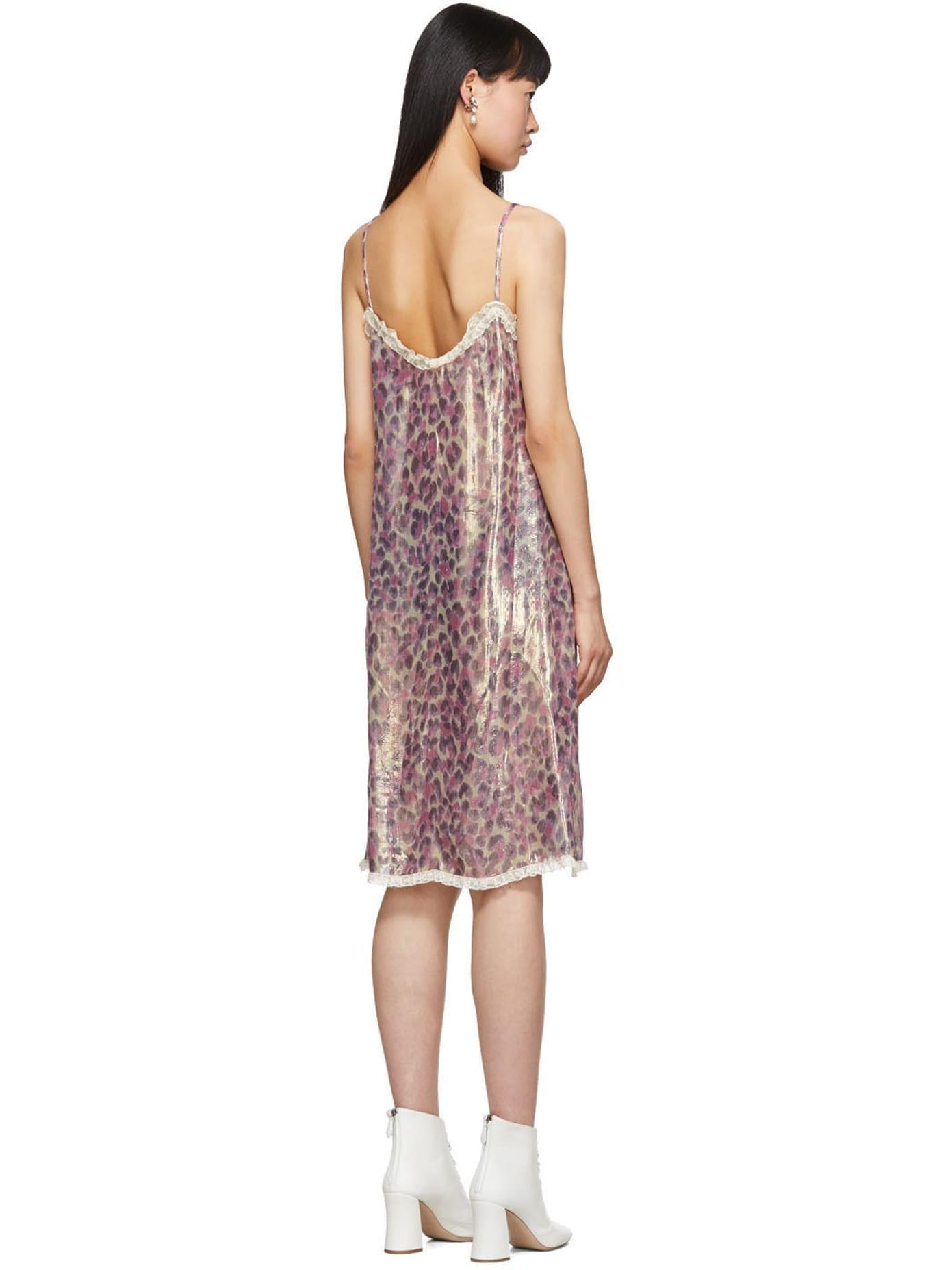 MIU MIU Pink Silk Chiffon Print Dress