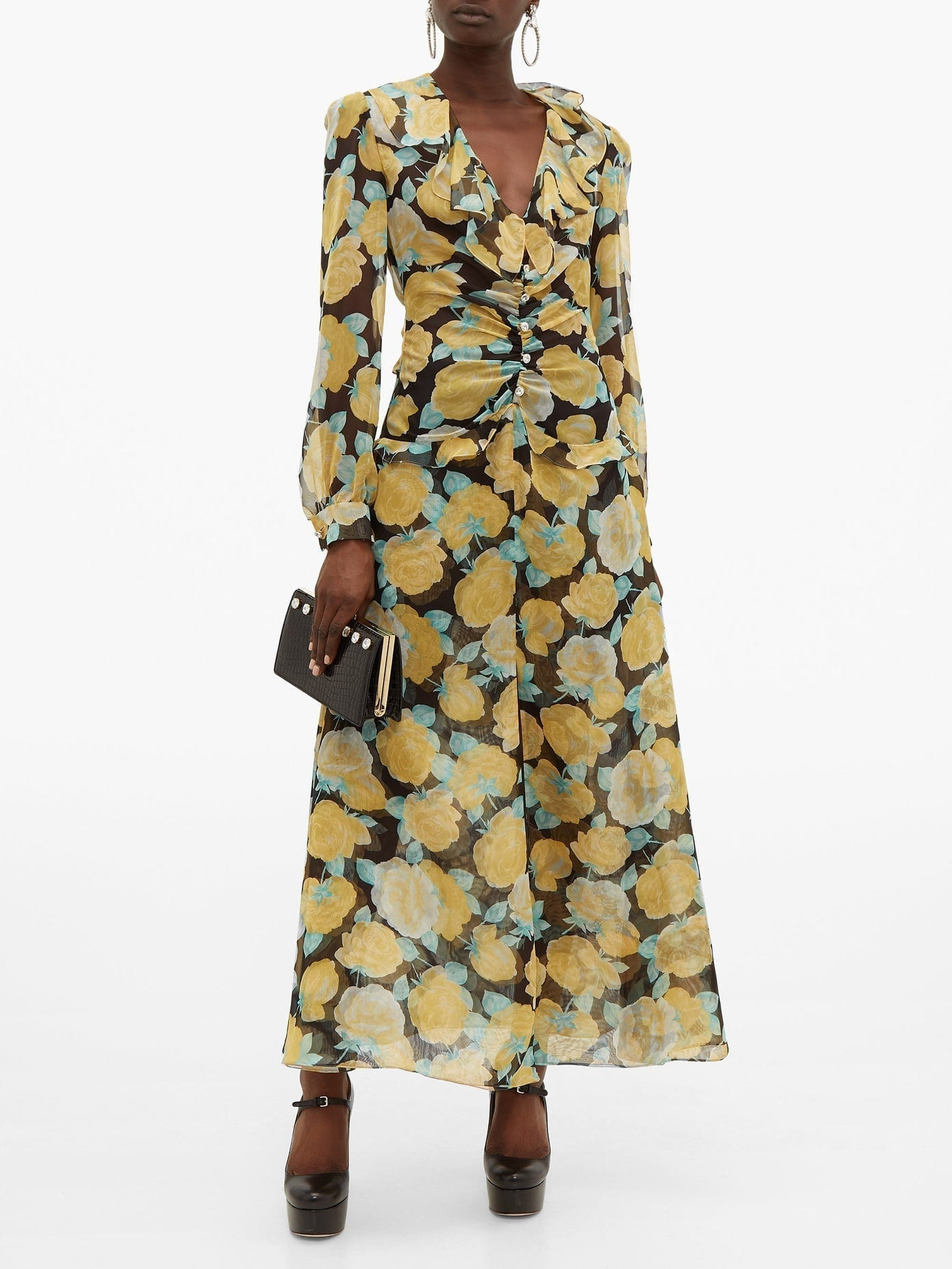 MIU MIU Rose-print Crystal-embellished Georgette Dress