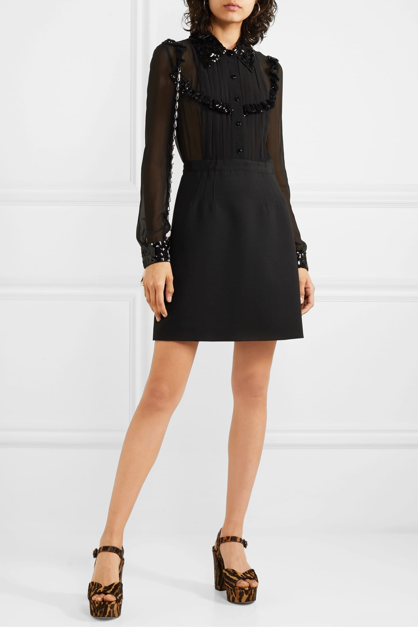 MIU MIU Sequined Grosgrain-trimmed Silk-chiffon And Wool-blend Mini Dress