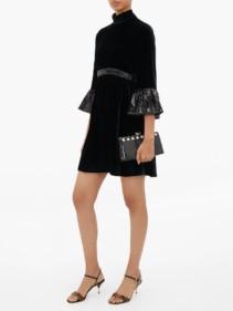 MIU MIU Sequinned-cuff Velvet Mini Dress