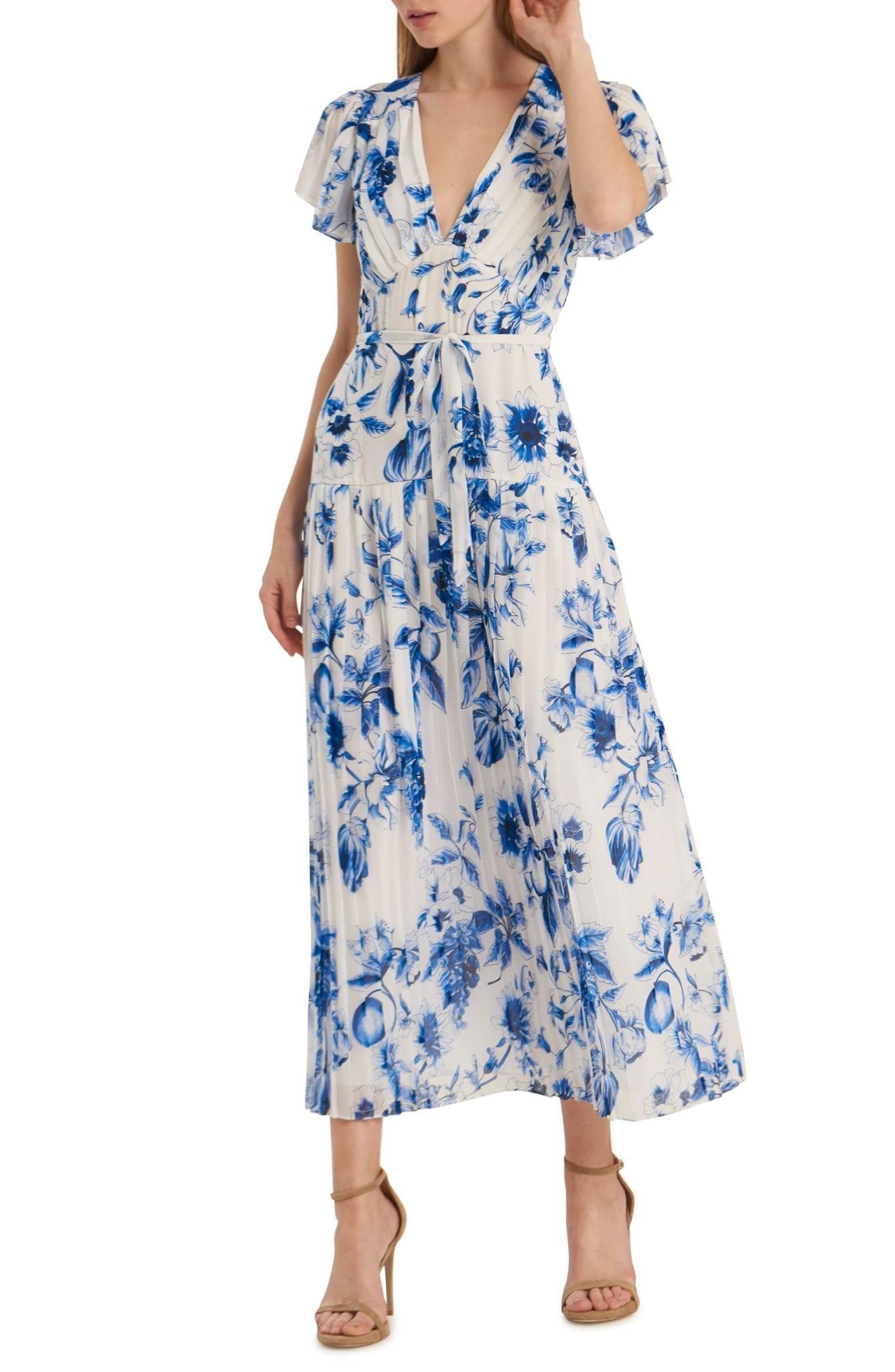 ML MONIQUE LHUILLIER Floral Pleated Tea Length Dress