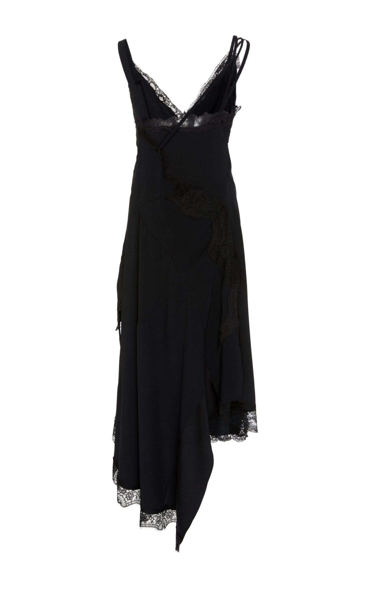 MONSE Asymmetric Lace Crepe Slip Dress