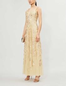 NEEDLE AND THREAD Valentina Sequin-embroidered Sleeveless Tulle Maxi Dress