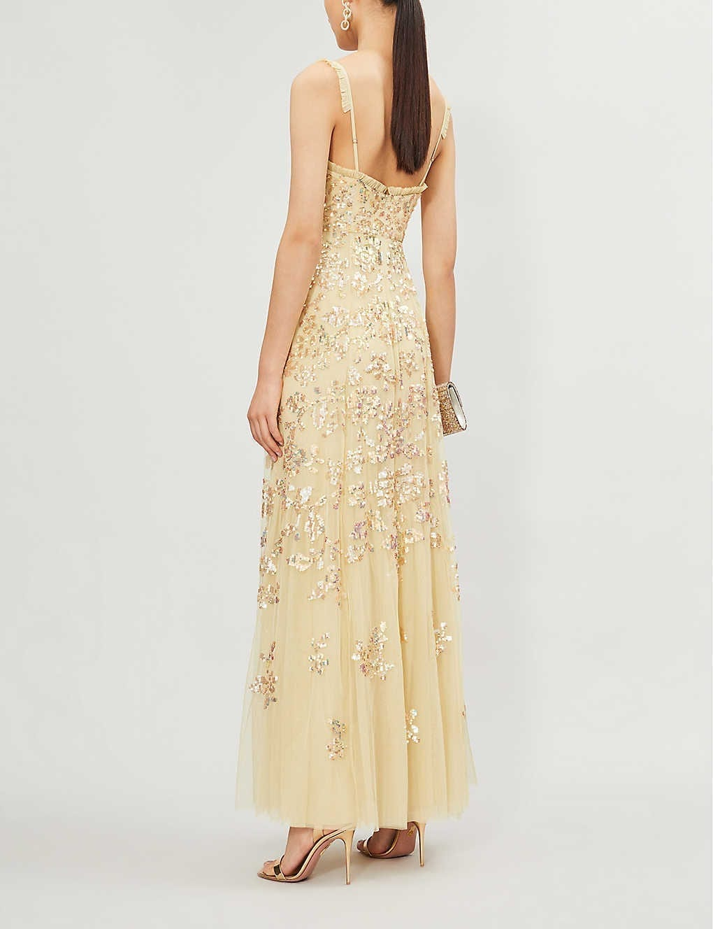 NEEDLE AND THREAD Valentina Sequin-embroidered Sleeveless Tulle Maxi Dress