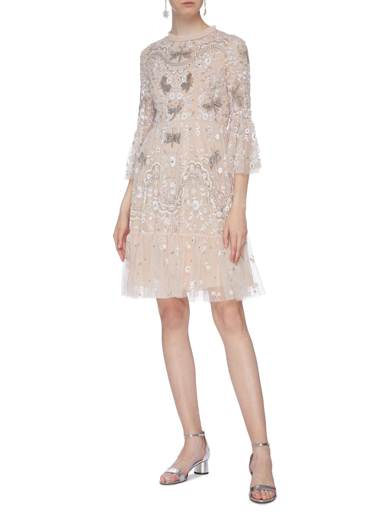 NEEDLE & THREAD 'Dragonfly Garden' Embellished Floral Embroidered Tiered Dress