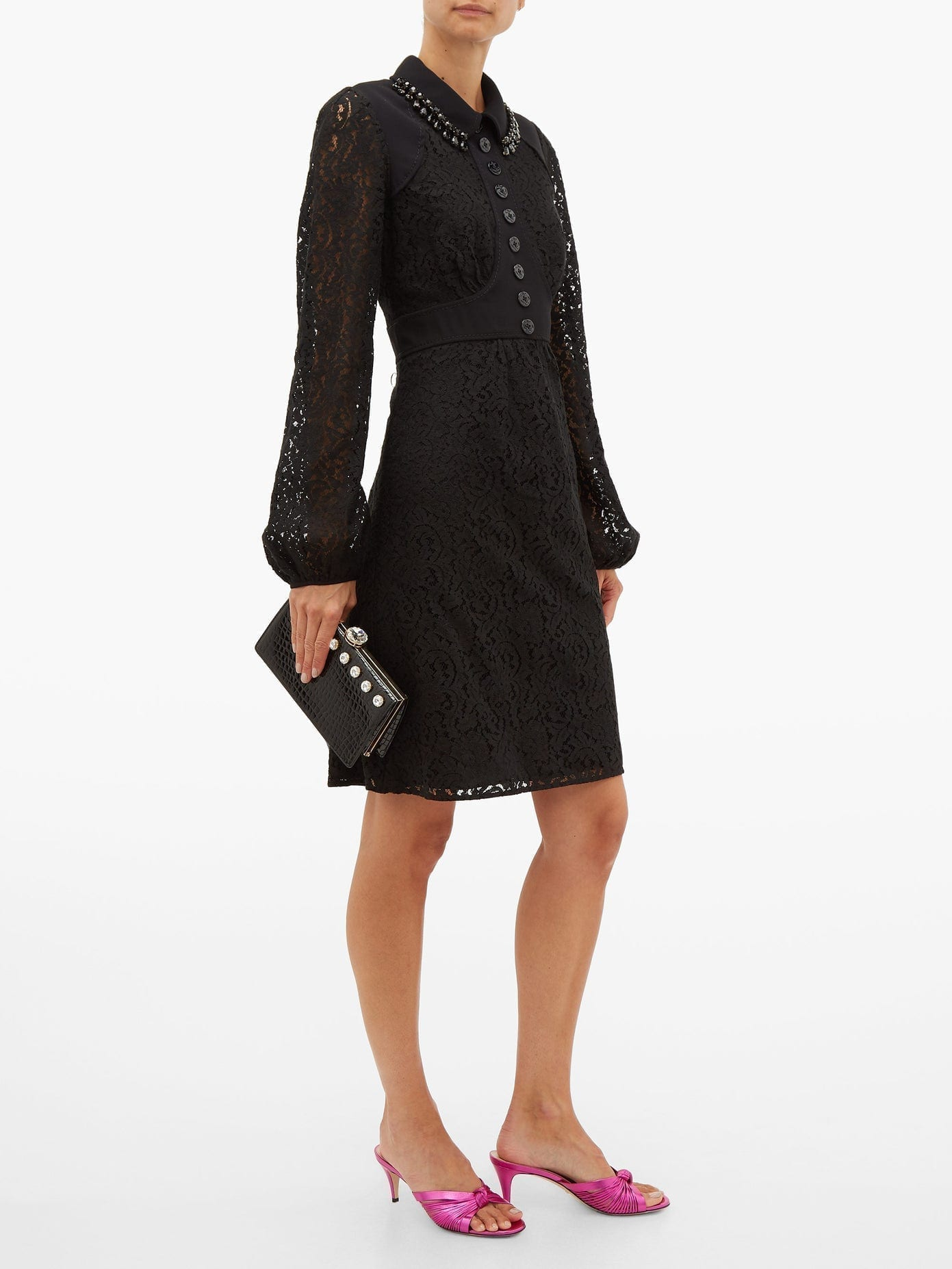 NO. 21 Crystal-embellished Cotton-blend Lace Dress