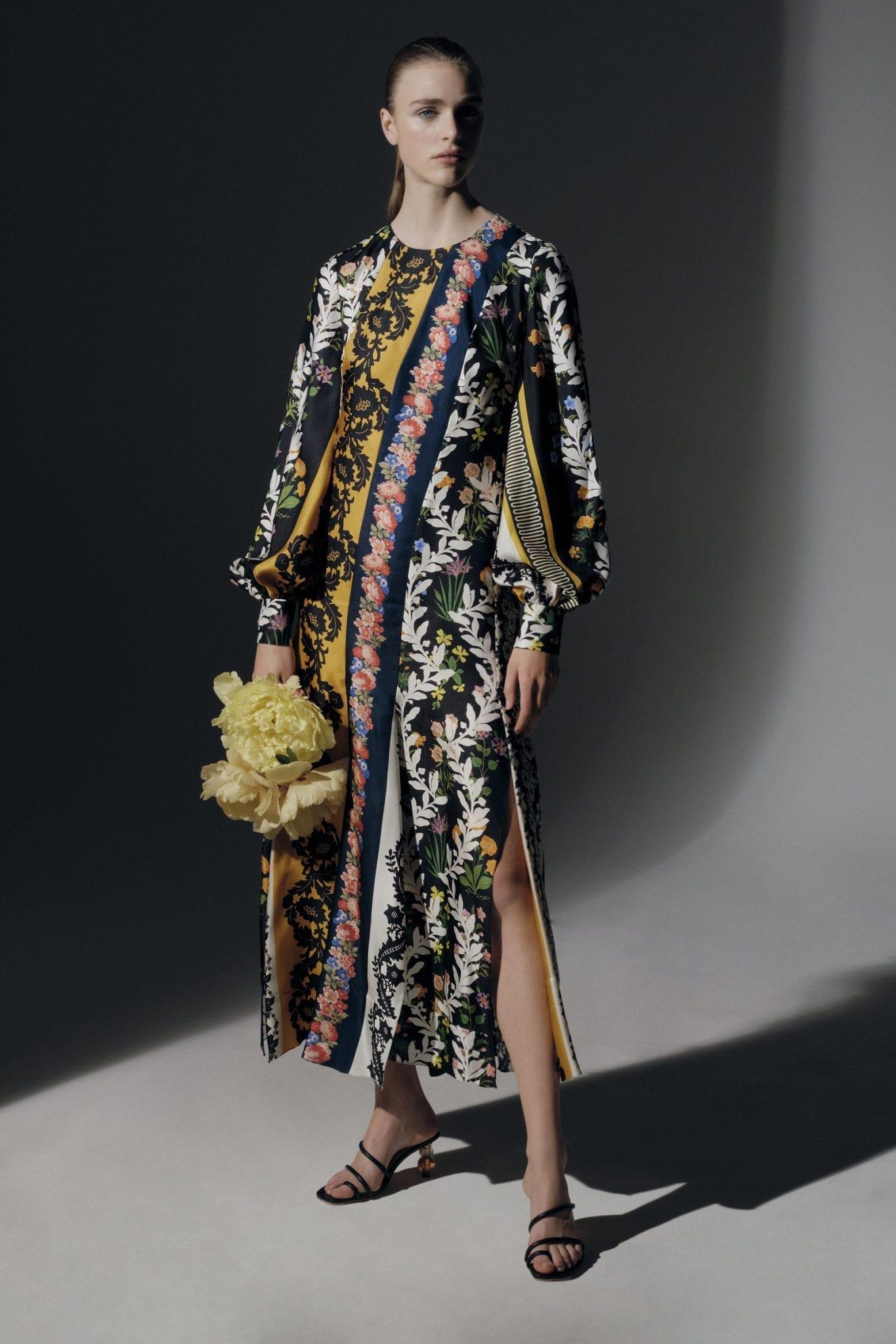 OSCAR DE LA RENTA Floral-Print Silk-Crepe Midi Dress