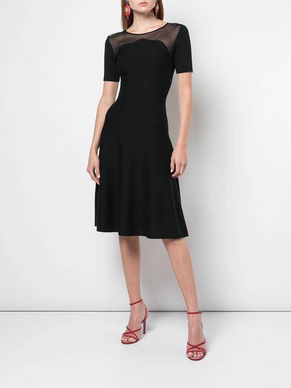 OSCAR DE LA RENTA Sheer Panel Midi Dress