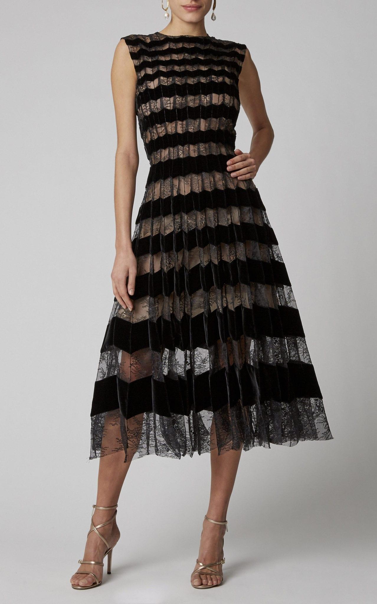 OSCAR DE LA RENTA Striped Pleated Lace Midi Dress
