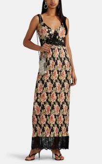 PACO RABANNE Floral Satin Plissé Tank Dress