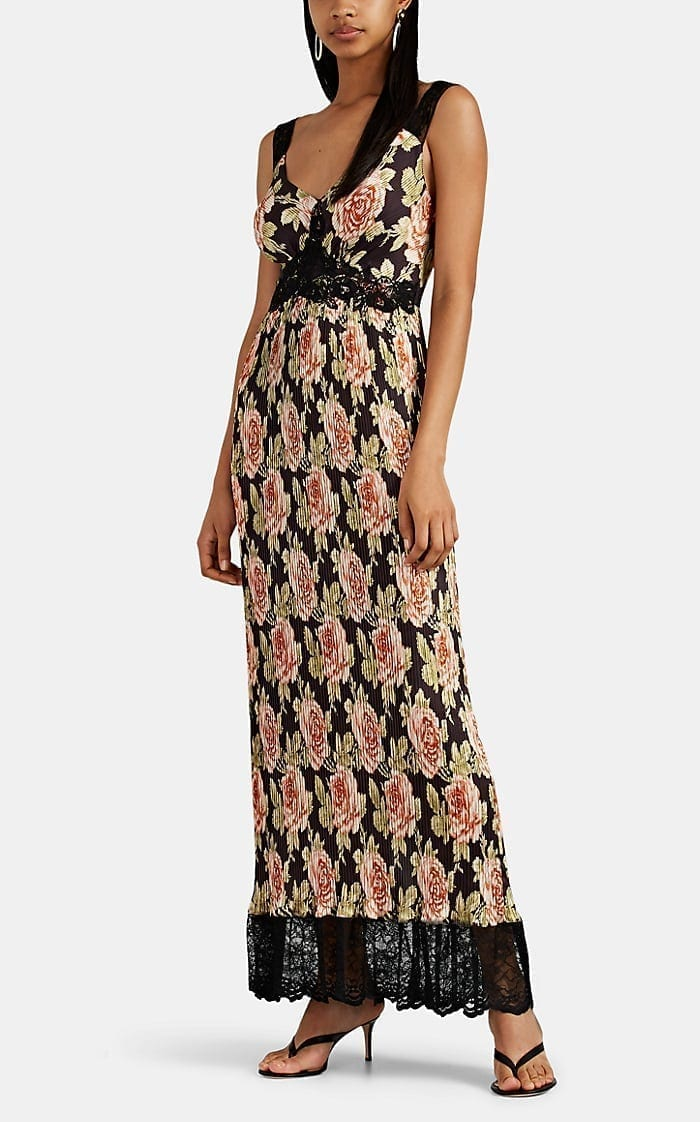 PACO RABANNE Floral Satin Plissé Tank Dress