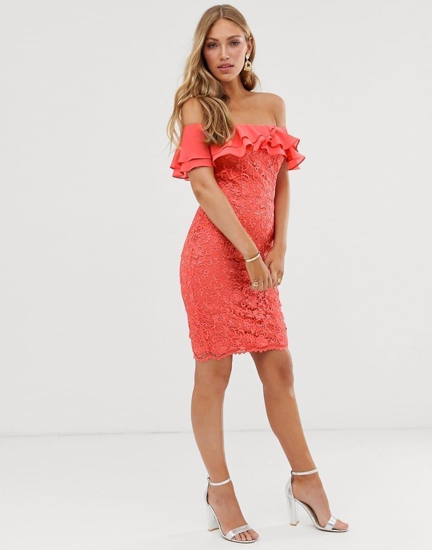 PAPER DOLLS Ruffle Bardot Lace Pencil Dress