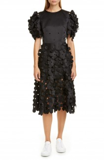 PASKAL Laser Cut Puff Sleeve Dress