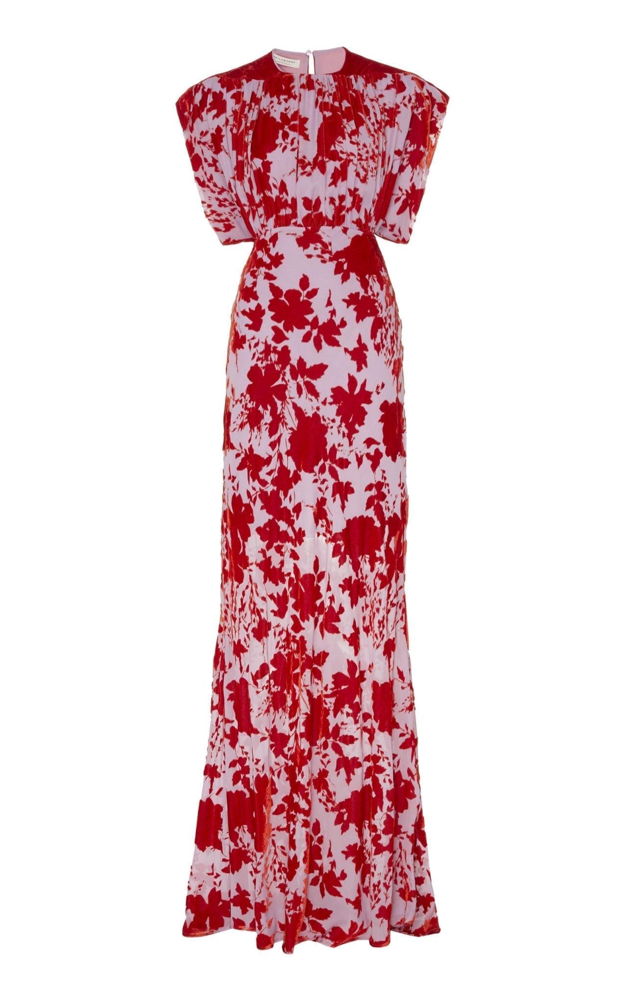 PHILOSOPHY DI LORENZO SERAFINI Floral-Print Devoré Velvet Gown