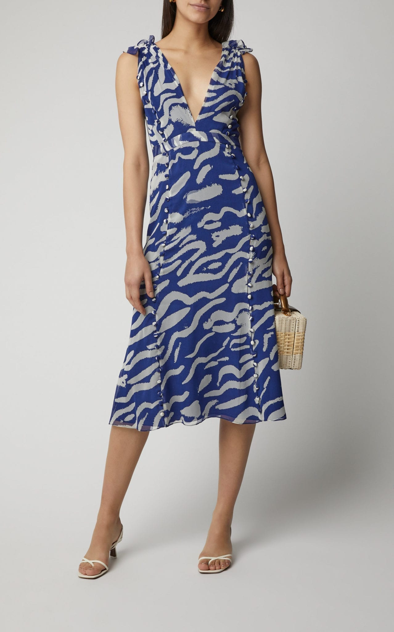 PRABAL GURUNG Printed Button-Detailed Silk Dress