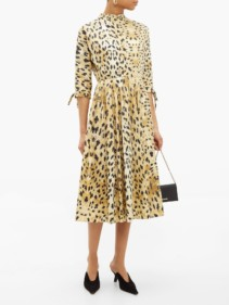 PRADA Band-collar Watercolour-print Cotton Midi Dress
