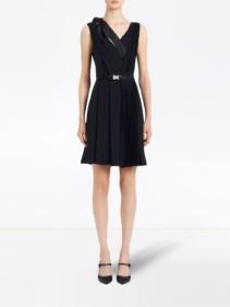 PRADA Bow Detail V-neck Dress