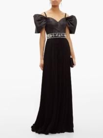 PRADA Crystal-embellished Pleated Silk-taffeta Gown