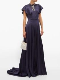PRADA Crystal-embellished Satin Gown