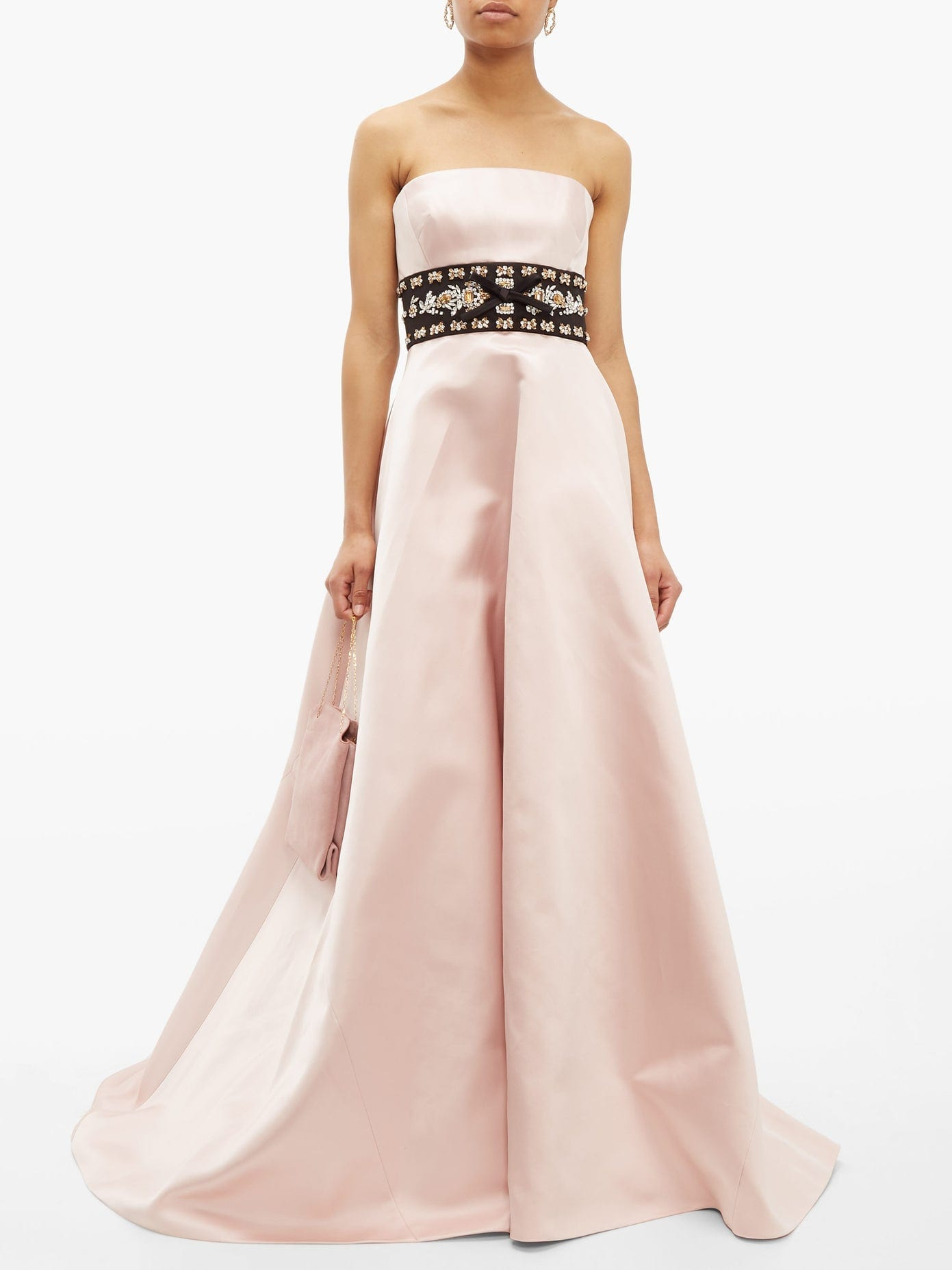 PRADA Crystal-waistband Silk-satin Gown