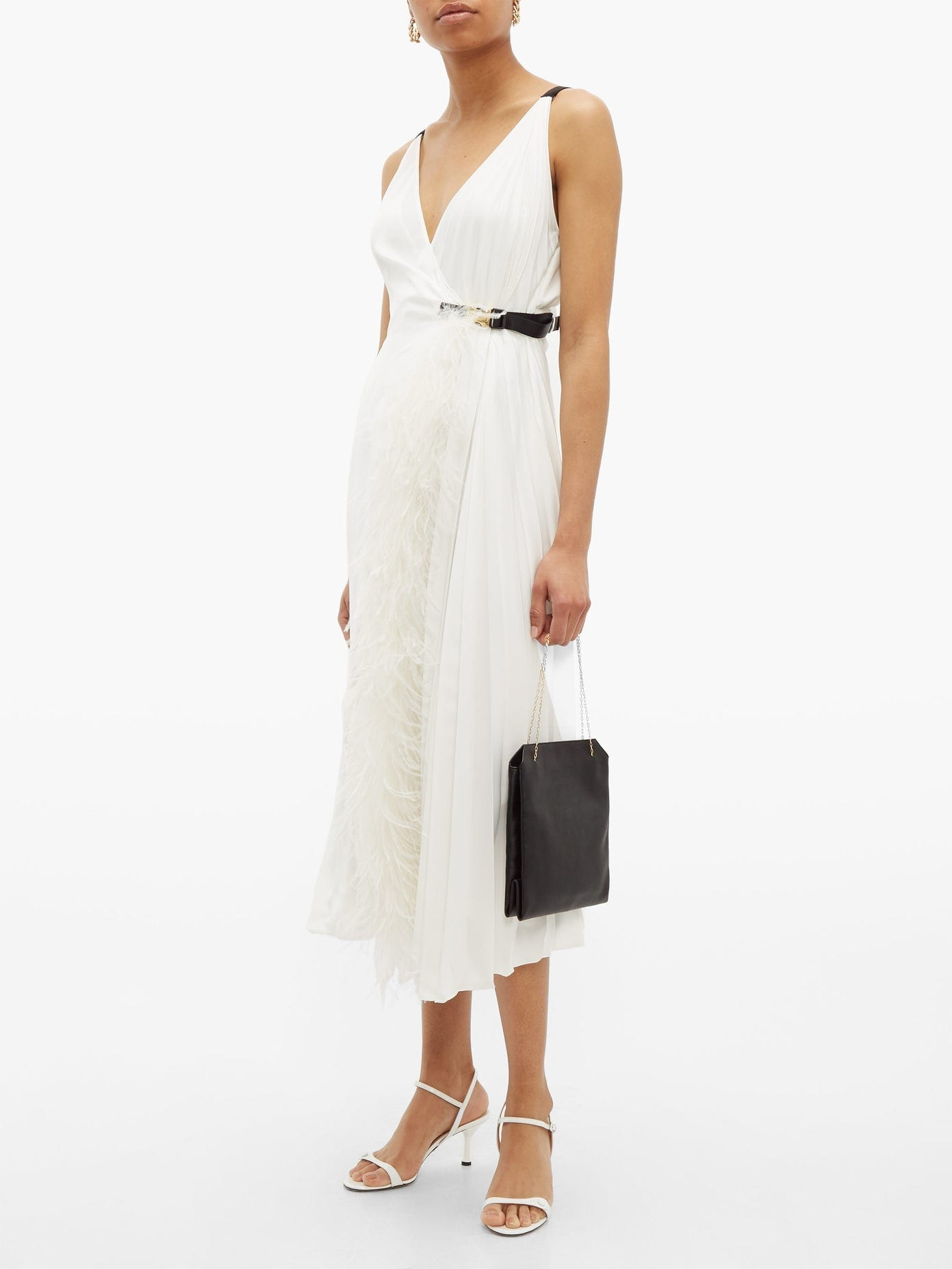 PRADA Feather-trimmed Pleated Wrap Dress